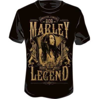 Bob Marley - Rebel Legend Adult T-Shirt in Black, Size: X-Large, Color: Black