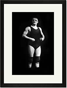 Black Framed/Matted Print 17x23, Bodybuilder in Wrestling Outfit and Knee Pads