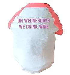 On wednesdays we drink wine two toned dog vest pink or blue