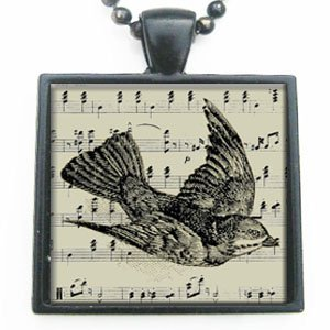 Vintage Antique Ephemera Bird Glass Tile Pendant