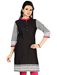 Black Cotton 3/4 Sleeves Knee Long Kurti