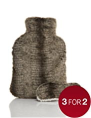 Hot Water Bottle with Faux Fur Cover & Eye Mask