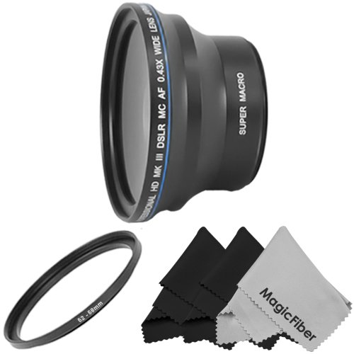 Professional 0.43X Wide Angle High Definition Lens (W/ Macro Portion) For Nikon Dslr - (D5100 D3100 D40 D60 D80 D3000 D5000) + 3 Magicfiber Microfiber Lens Cleaning Cloths