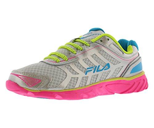 Fila Women's Memory Aerosprinter 2 Running Shoe, Metallic Silver/Knockout Pink/Lemon Punch, 9 M US