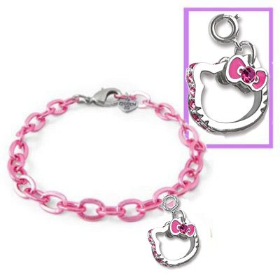 Sanrio Hello Kitty Face with Bowtie Charm PLUS Pink Metallic Link Charm Bracelet Set