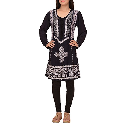 Skirts & Scarves Rayon Long Sleeve embroidered Indian Short Kurtis For Women (Black)