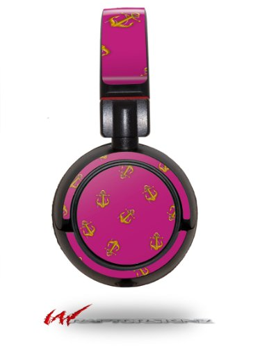 Anchors Away Fuschia Hot Pink - Decal Style Vinyl Skin Fits Sony Mdr Zx100 Headphones (Headphones Not Included)