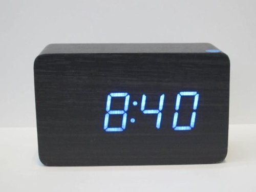 KABB Black Wood Grain Blue LED Light Alarm Clock - Time Temperature - Sound Control - Latest Generation(USB/3xAAA)
