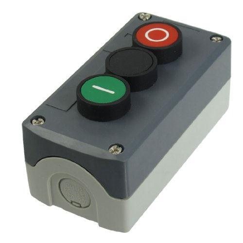 240V 3A Spst Momentary Green Black Red Flat Push Button Switch Station Box