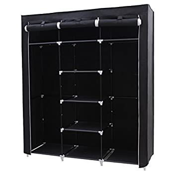 SONGMICS Portable Clothes Closet Non-woven Fabric Wardrobe Double Rod Storage Organizer Black 59-Inch URYG12H