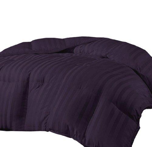 Marrikas Reversible Microfiber Down Alternative King Comforter Plum Stripe front-891042