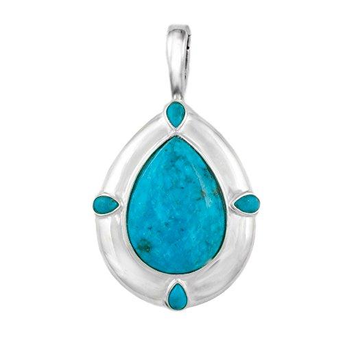 Sterling Silver Blue Kingman Turquoise Pendant Enhancer
