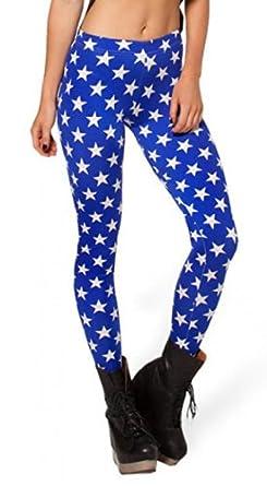 Sunnydate Women's New 2014 Fashion Leggings blue with white star pattern