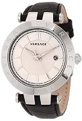 Versace Men's 23Q99D002 S009 V-Race 3 Hands Black Genuine Leather 3 Interchangeable Top Rings Watch