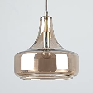 Modern Tinted Champagne Glass Shade Design Suspended Over Table Ceiling Pendant Light Fitting by MiniSun