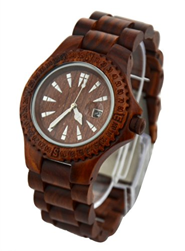 Topwell� All Brown Wooden Wood Watches Date Watch Sandal Wood Quartz Watch Men Wooden Wristwatch Japan Movt Men's Watches Gift Giving Watch