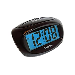westclox 70043 compact large display lcd alarm clock radio alarm clocks. Black Bedroom Furniture Sets. Home Design Ideas