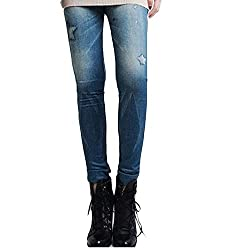 isweven Girls Slim Fit Jeggings(j26 Blue Free Size)