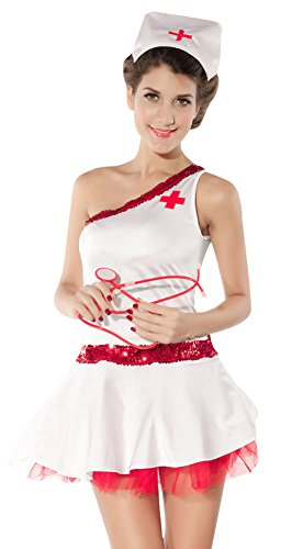 Dreamall Women's Halloween Cosplay Sexy Caring Pure Nurse Fancy Costume