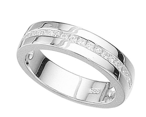 Elements Sterling Silver R714C 52 Ladies Clear CZ Channel Set Ring