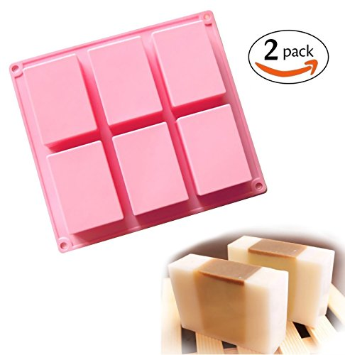 Clearance Sale - Ozera 6 Cavities Silicone Soap Mold (2 Pack), Cake Baking Pan, Biscuit Chocolate Ice Cube Tray (Silicone Baking Supplies compare prices)