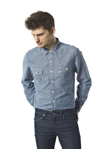 Levi's Men's Levi's Ls Jethro Workshirt 65173 Casual Shirt Blue (0008/True Blue (55%Cotton/45%Linen)) 50