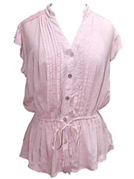 Womens Dusty Pink Peplum and Gathered Waist Blouse