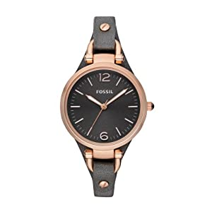 Fossil ES3077 32mm Metal Case Black Leather Women's Watch