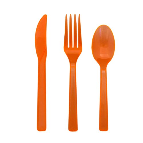 Party Essentials Plastic Cutlery Assortment And Knives/Forks/Spoons, Neon Orange, 17 Place Setting-Count