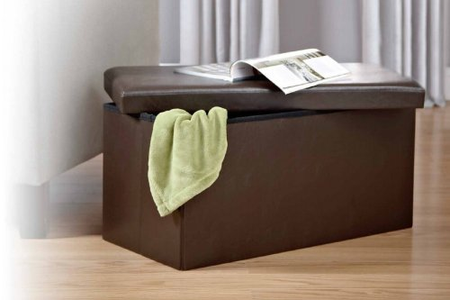 Kings Brand Brown Faux leather Folding Storage Ottoman Bench / Footstool - Bench OttomansSale.com