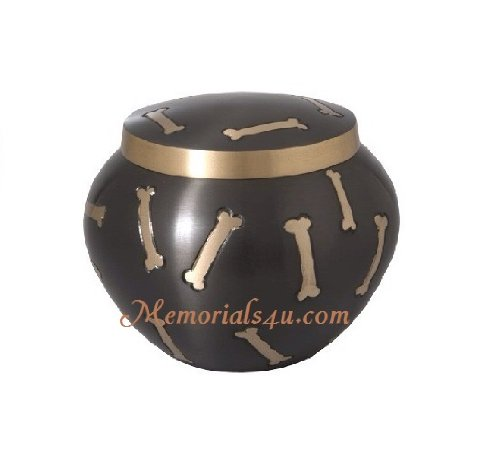 Odyssey Black  Golden Dog Bones, Pet Urn, Small