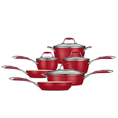 Tramontina 80110/202Ds 10-Piece Gourmet Ceramica 01 Deluxe Cookware Set, Metallic Red