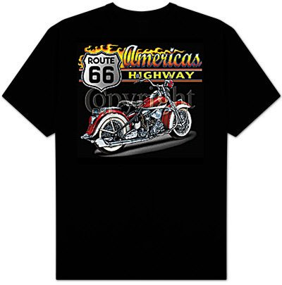 America's Highway - Route 66 Biker Adult T-shirt Tee Shirt - (back print), Large, Black