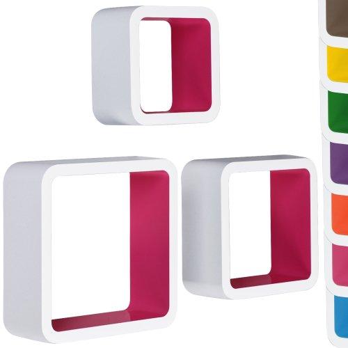 Miadomodo 3er Set Lounge Cube Regal Bücherregal Design Retro 70er Hängeregal in verschiedenen Farben