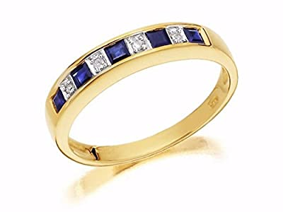 F.Hinds Womens Jewellery Jewelry 9ct Gold Diamond And Sapphire Half Eternity Ring