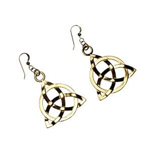 Triquetra Trinity Knot Gold-dipped Earrings on French Hooks