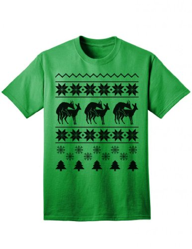 Humping Reindeer - Ugly Christmas Sweater Inspired Naughty Deer Adult Unisex T-Shirt - Kelly-Green - 2Xl