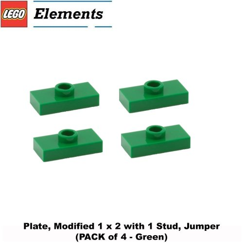 Lego Parts: Plate, Modified 1 x 2 with 1 Stud, Jumper (PACK of 4 - Green) (Lego Friends Oasis compare prices)