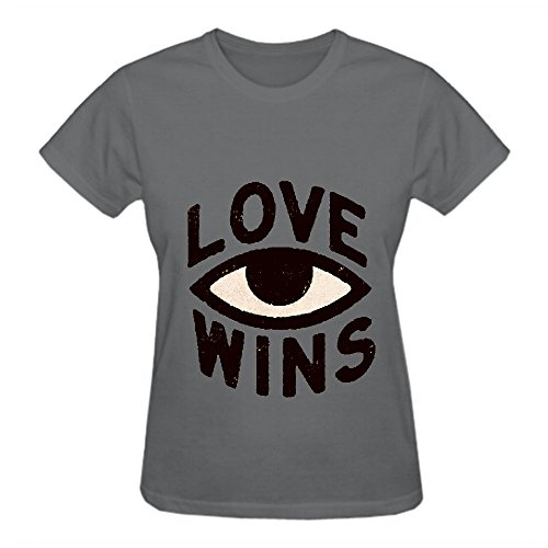 Love Wins Ye0 Funny T Shirts For Women Crew Neck Grey