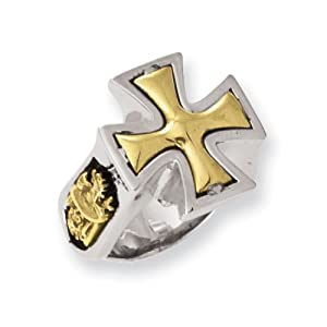 Stainless Steel Bronze Maltese Cross Ring by Ed Hardy Jewelry, Best Quality Free Gift Box Satisfaction Guaranteed