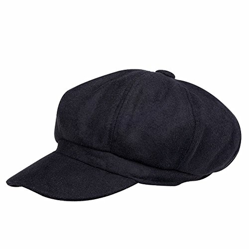 Belsen Women Girl Newsboy Peaked Beret Hat Warm Cloche Flat Caps (Classic Black) (Peaked Cap Women compare prices)