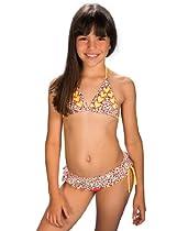 Chikolat Kids Beachwear Girls 8-16 Hazelnut Chips Bikini,Citrine/ Cinnabar Red,Size 10