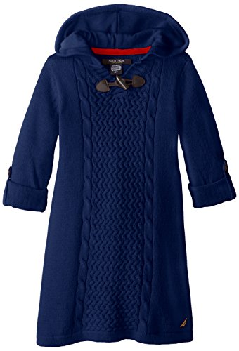 Nautica Little Girls' Solid Sweater Dress With Novelty Stitch Convertible Sleeve And Hood With To Ggle, Medium Navy, 2T