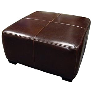 Full leather square cocktail ottoman dark brown kitchen dining Dark brown leather ottoman coffee table
