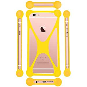 Casotec Universal Silicone Bumper Frame Soft Gel Phone Case Cover for Asus Zenfone 2 Laser ZE550KL - Yellow