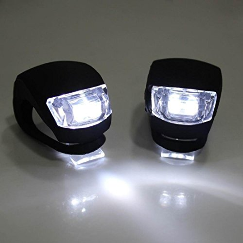 2 Pcs Tip-top 4 Modes LED Bike Light Cycling Silicone Front Bicycle Headlight Safety Body Black