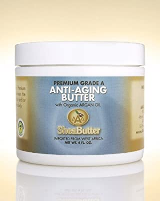 Natural Anti-Aging Butter Unrefined Certified Grade A Shea Butter and Organic Unrefined Argan Oil Blend 4 oz. By AAA Shea Butter