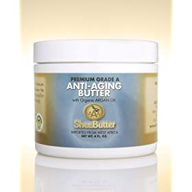 Natural Anti-Aging Butter Unrefined Certified Grade A Shea Butter and Organic Unrefined Argan Oil Blend 4 oz.