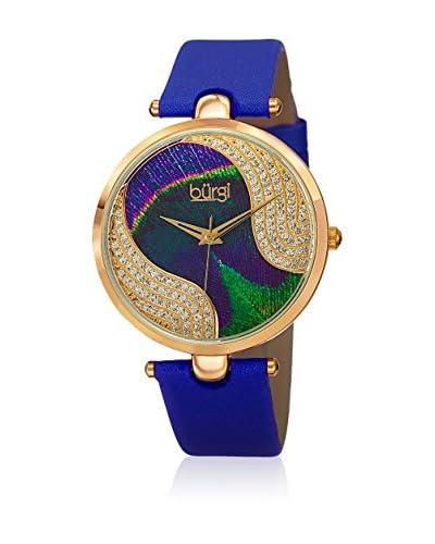 Bürgi Orologio con Movimento al Quarzo Svizzero Ladies Genuine Leather Embossed Dial Crystal Watch B...