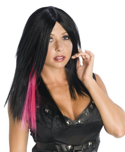 Wig, Black With Pink Streak